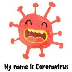 Cartoon drawing of a red, personified corona virus